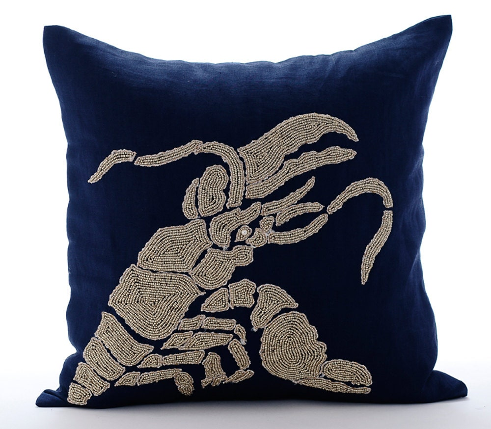 Navy Blue Decorative Pillow Covers 20x20 Sofa by TheHomeCentric