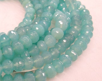 10mm Blue Peruvian Chalcedony Rondelle Beads, 16 Inches