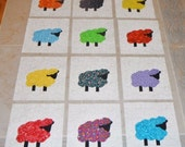 "Set of 12 Applique   6"" x 6""  Quilt Blocks  ...  Colorful Sheep"