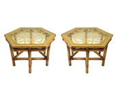 Pair of Rattan Glass Top Side Tables Regency Fretwork McGuire Style Tiki