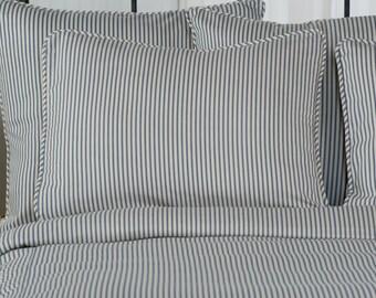 Ticking Stripe Pillow Shams    Euro, Standard, King, Black, Navy, Grey