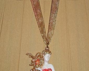 Mermaid Necklace Sailor's Sweetheart Ocean Blue Orange Golden Painted Real Sea Shell Rhinestone