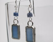 Faded Blues - Sterling Silver Stained Glass Earrings