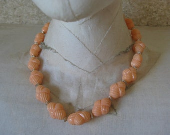 Peach Orange Bead Necklace Gold Vintage Single Strand