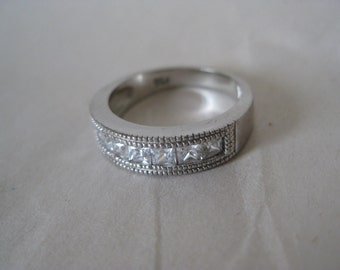 Clear Stone Ring Band Sterling Silver Vintage CZ Size 5 1/2 925