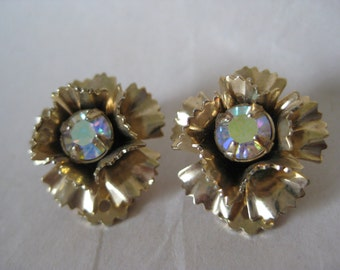 Flower Gold Aurora Earrings Rhinestone Clip Vintage