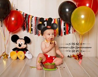 Mickey Mouse Rag Tie Banner High Chair Banner Set ~Photo Prop ~Cake Smash ~1st Birthday