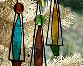 Christmas Tree, Icicle Ornamenst, Atomic Style, Various Colors, Set of Three