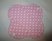 """Cloth pantyliner 6"""" with pink polka dots fabric"""