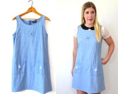 20 DOLLAR SUPER SALE! Denim Jumper Dress  - Denim Dress Women - Nautical Dress - Sailor Dress