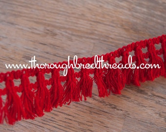 Fun Fringe - 3 yards Vintage Trim New Old Stock 60s 70s Holiday Red