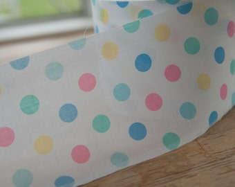 Cute Pastel Polka Dots  - 3 yards Vintage Fabric Trim New Old Stock Ruffle Nursery Novelty