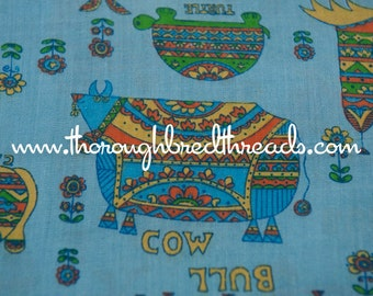 Groovy Hippie  Animals - Vintage Fabric Whimsical Novelty Mod Cats Cows Bulls Turtles Rabbits