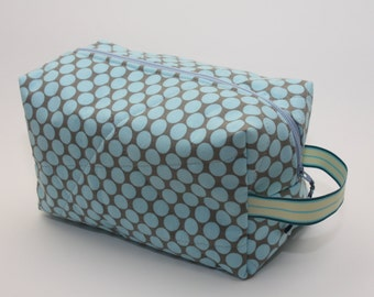 Quilted Box Bag - Amy Butler Full Moon Polka Dot Slate Fabric