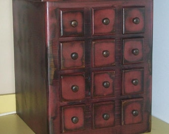 PRIMITIVE Wood Appliance Mixer Cover with 12 Faux Drawers