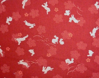 Japanese cotton print - 1/2 yard of red bunny with flower