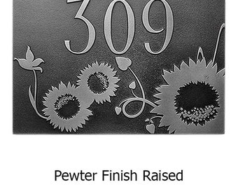 Sunny Sunflower Address Plaque Home Number Sign 16 x 10.5 inches by Atlas Signs and Plaques