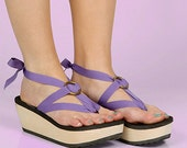 MOKOBO Platform Thong Sandals by Mohop | Handmade Vegan Shoes with 5 Interchangeable Ribbons