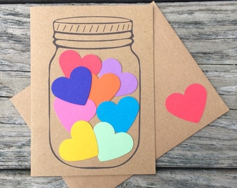 Mason Jar Full of Hearts Love, Love You, Sending Love, Thoughtful Greeting Card with Matching Envelope