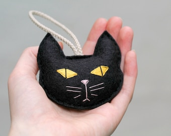 Felt Cat Ornament. Spooky Black Cat. Gift for the Cat Lady. Plush Cat Head Christmas Ornament  Embroidered. Handmade by Ordinary Mommy