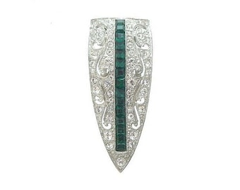 Emerald Vintage Brooch, Art Deco Dress Clip, 1920s Book Piece, Antique Bridal Jewelry, Wedding Jewellery