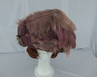 Donna Vinci Couture Taupe,with dusty rose Ostrich Feathers, Steampunk. Derby, Tea, Womens Church Hat, NWT