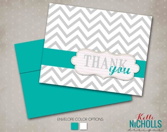 Chevron Wedding Thank You Cards, Bridal Shower Thank You Notes - Custom Colors