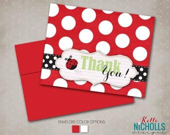 Ladybug Girl's Birthday Party Thank You Cards, Lady Bug Folding Thank You Notes #B111