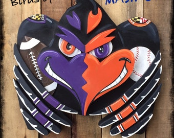 3D BIRDS of BALTIMORE Original Mash Up Inspired by Orioles Orange and Ravens Purple Teams Wooden Layered Winged Wall Yum Yums Plaque