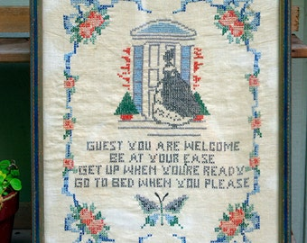 Needlework, Cross Stitch, Antique Framed Needlework, Motto, Embroidery Sampler