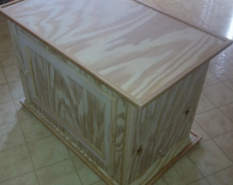 UNFINISHED Small Litter Kabinet - 6 Styles Available - Litter & Odor Control - Plant Stand, TV Stand, BENCH - Great for RVs / Dorms