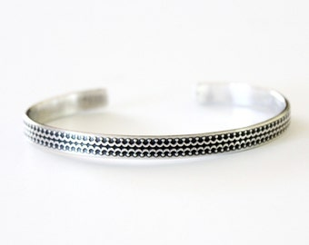 Bohemian Sterling Silver Cuff Bracelet - 925 - Boho - Tribal - Oxidized - Black and Silver - Metal Stamped - Crown Design