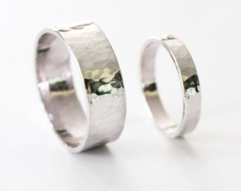 Couple's Ring Set - Hammered Sterling Silver Rings - Wedding Bands - Promise Ring - Men's - Women's - Thick Silver - Textured - Matching