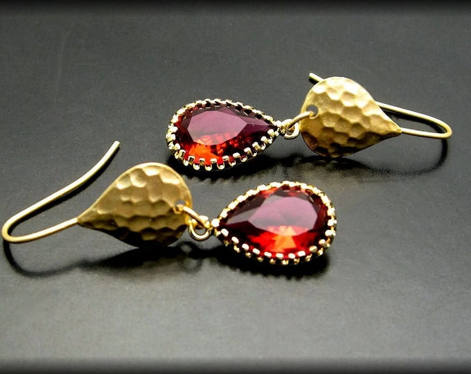 RUBY'S FIRE ~ Red Quartz, 14kt Gold Vermeil Earrings