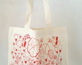Organic Cotton Tote Bag, Hand Screen Printed Wildflower Print featuring Red Poppies, Stocking Stuffer, Best Friend Gift, Gift for her