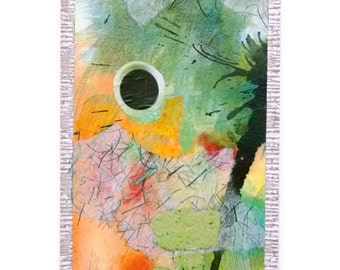 A Common Thread #2, Postcard Sized Abstract Collage, Original Mixed Media on Paper, 6x4 inches, Matted.