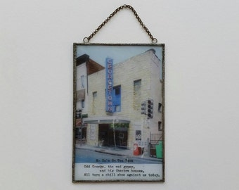 odd george - photo transfer, found poem, mixed media, soldered, glass