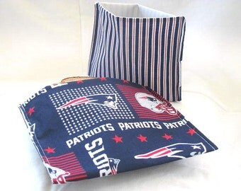 2 PC New England Patriots ReUsable Sandwich and Snack Bag Set Eco Friendly Lunch Kit, NFL Football Ready to Ship