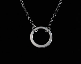 Open Loop Necklace - Fine Silver - Simple - Handmade Artisan Jewelry - ME Designs