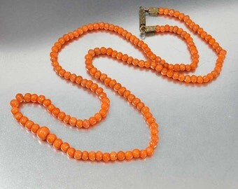 Antique Victorian Coral Necklace, Mediterranean Coral Bead Necklace, Graduated Hand Carved Coral Beads,1800s Antique Jewelry