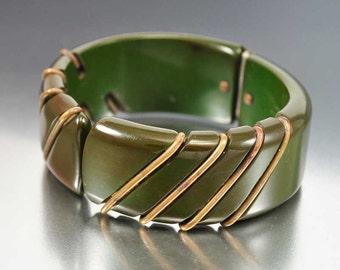 Vintage Green Bakelite Bracelet, Brass Clamper Bangle, Wide Art Deco Bracelet, Vintage 1930s Art Deco Jewelry, Bakelite Jewelry