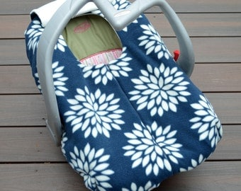 Dahlias in Blue and Ivory, Car Seat Cover for Infant Rear-facing Carseat, Baby Girl Gift, Baby Shower Gift