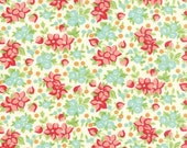 Hello Darling Wildflowers Natural Fabric with Red and Aqua on Cream by Bonnie & Camille for Moda Fabrics
