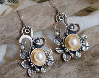 Woodland earrings, botanical earrings, Leaf earrings, Boho earrings,  silver gold earrings, leaf earrings, bohemian - Crazy love E2156G