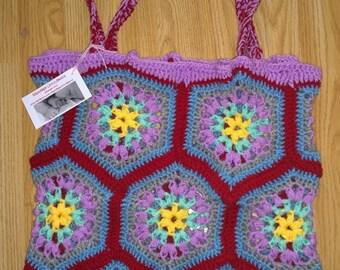 colourful crochet bag