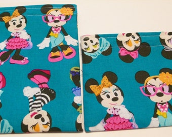 2pc Set  Reusable Sandwich and Snack Bag Fashionista Minnie Mouse
