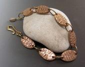Bronze Textured Link Bracelet Unique OOAK Original