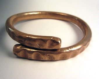 Forged Bronze Golden Bracelet Mens Unisex Textured OOAK