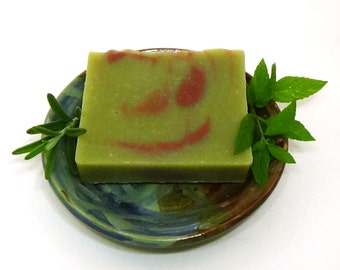 Peppermint Rosemary Soap - Marbled Soap - Vegan Soap - handmade soap - Green - Red - Cold Process Soap
