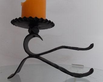 Vintage 1970s brutalist iron metal candleholder / mid century candlestick holder/ rustic home decor